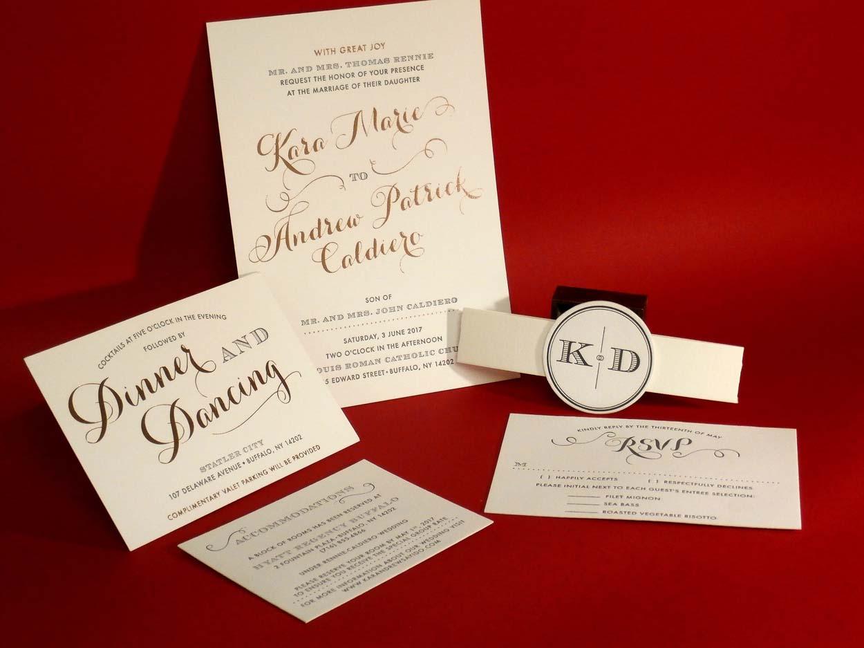 Rose Gold foil stamped/ letterpress printed invitation suite with ...