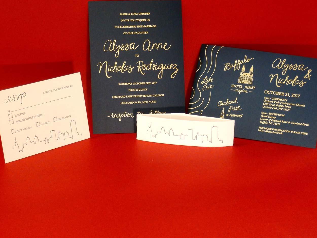 Gold Foil stamped invitation with Letterpress printed RSVP & belly ...