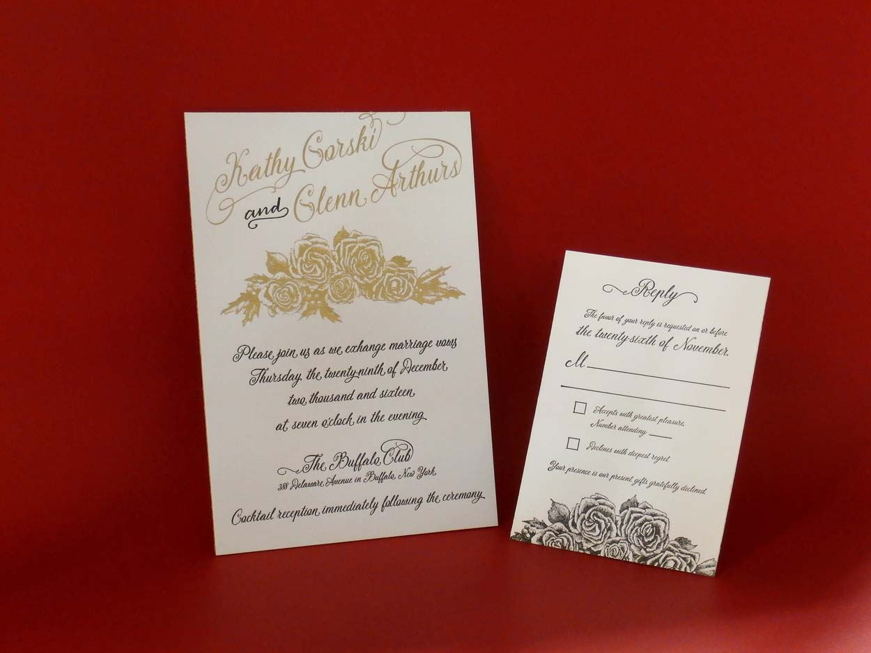 Foil Stamped/ Letterpress printed floral invitation - The Pickle Ship