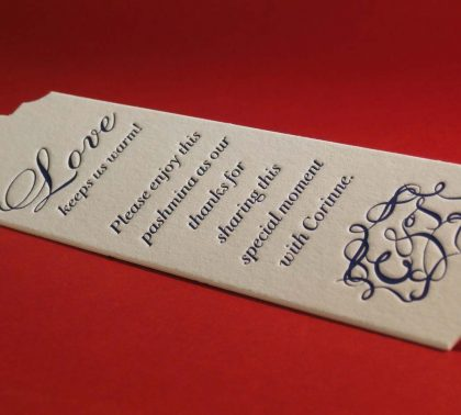 Letterpress printed/ die cut wedding shower tag